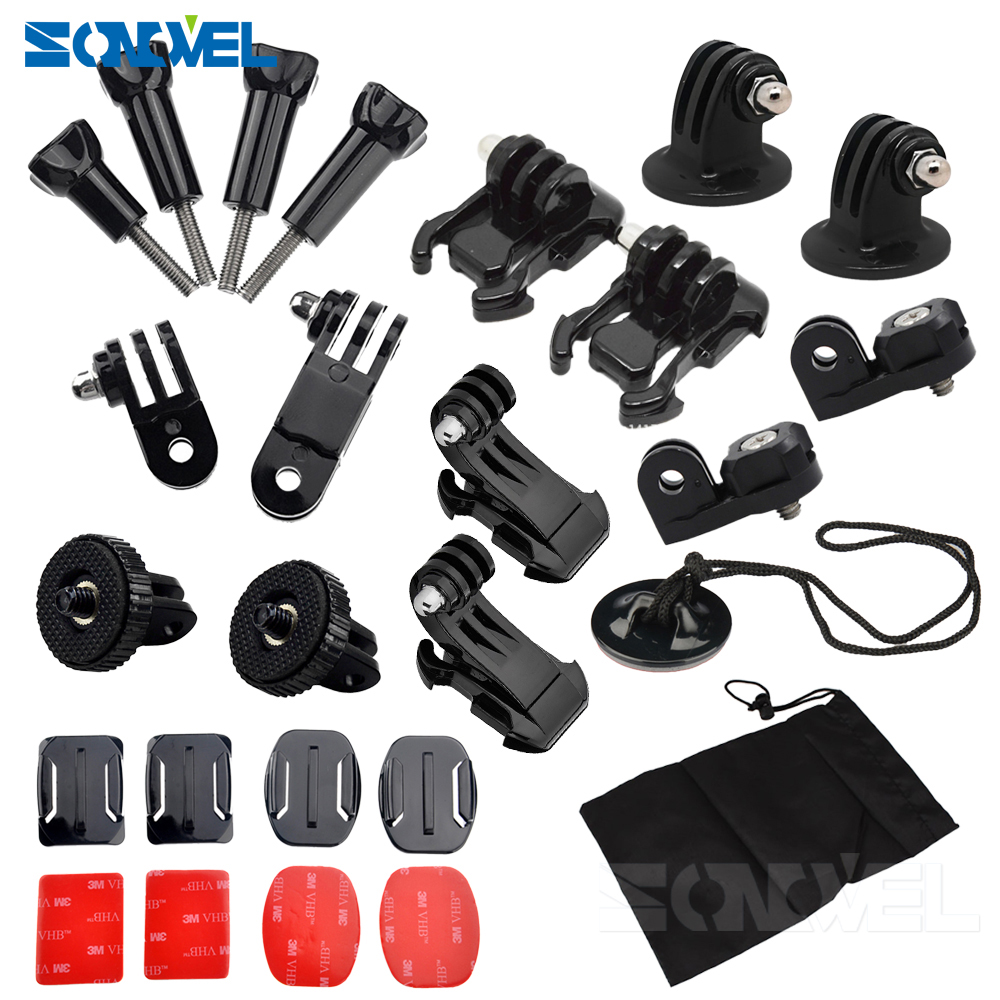 Front Side Helmet Accessories Set J-shaped Buckle Base Support Mount For GoPro Hero 5 6 7 4 Xiaomi Yi 4K SJCAM Go Pro Kits