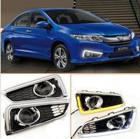 Free Shipping LED DRL Daytime Running Lights Fog Light With Amber Turn Light Suitable For Honda