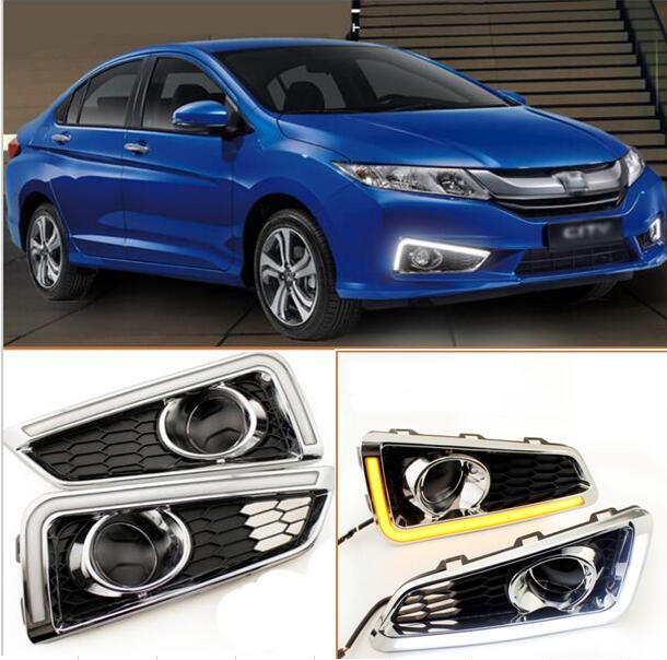 free shipping, LED DRL Daytime Running Lights,fog light With Amber Turn Light Suitable For Honda GRACE CITY 2014 2015