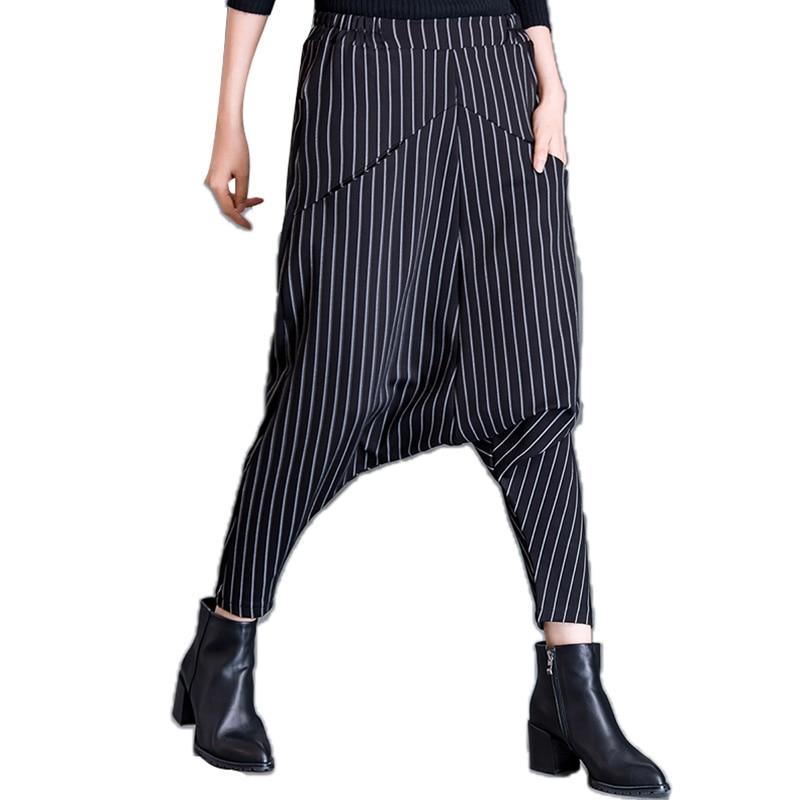 De Y Pantalones 2018 Rayas Invierno Europa Salvaje Superaen Algodón Mujeres El Moda Harén Nuevo Casuales Las Otoño Striped Señoras Mujer A qpztYF