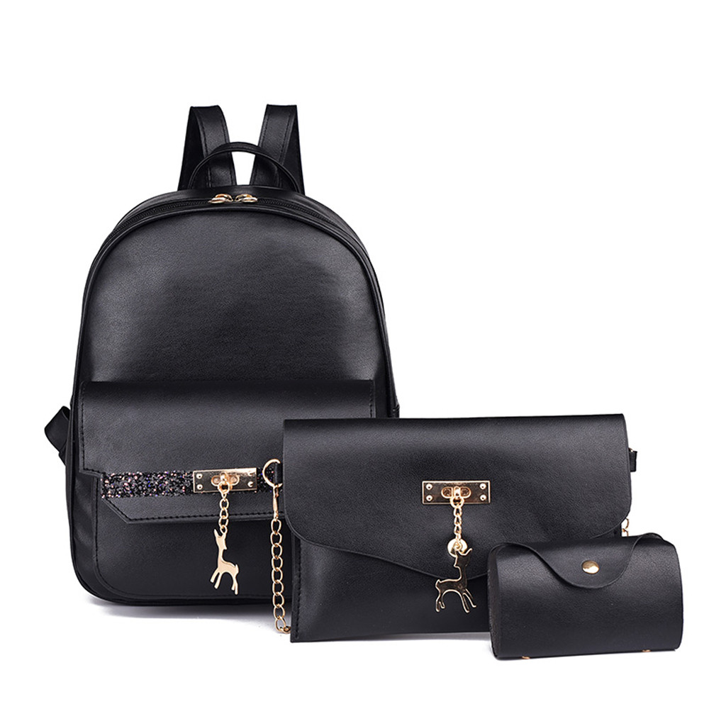 Aelicy 3Pcs Set Small Women Backpacks female School Bags For Teenage Girls  Black PU Leather Women Backpack Shoulder Bag Purse-in Backpacks from Luggage  ... b67852552d01a