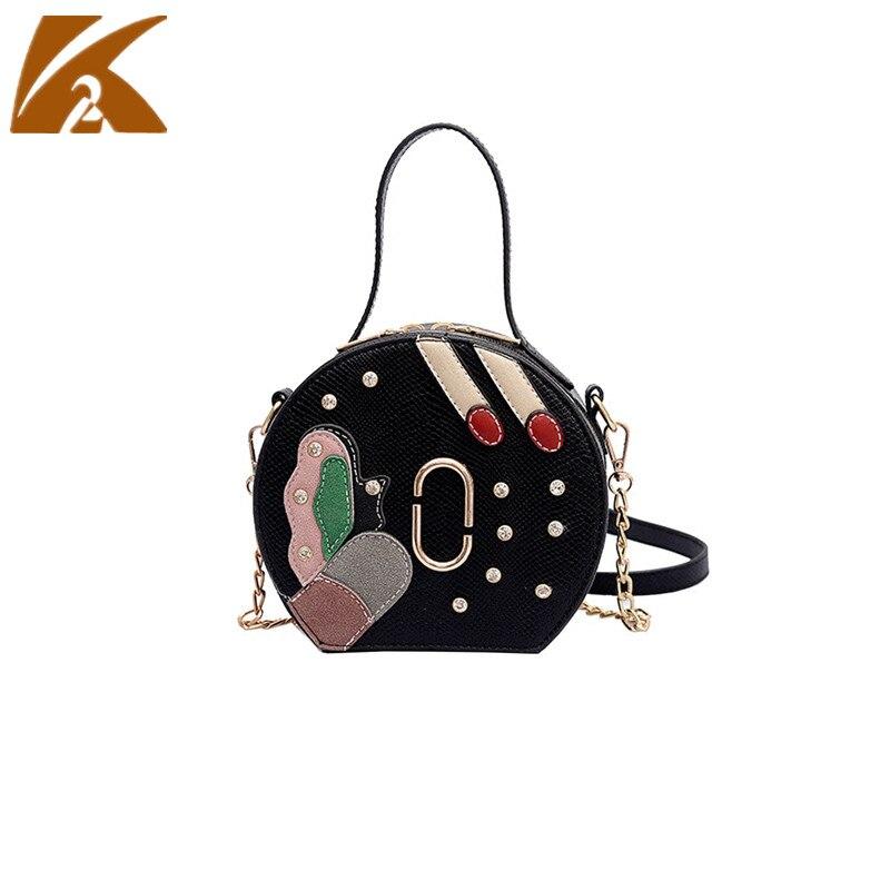 KVKY 2018 New Summer Cute Circle Messenger Bags Handbags Girls Small Round Hand Bags Woman Chain Shoulder Bag Crossbody Bags