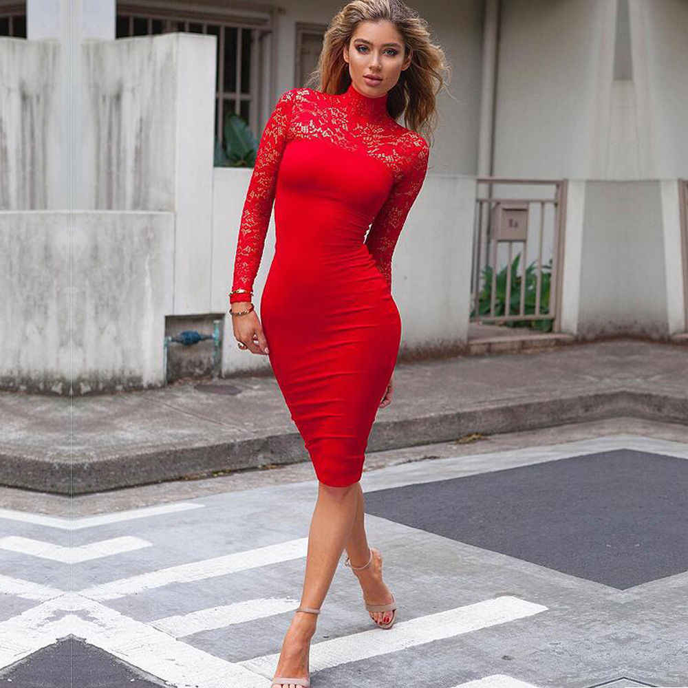 ce15cd15a926 2017 New Women Sexy Hollow out Lace Solid Bodycon daresses Long Sleeves Women  Dress black/