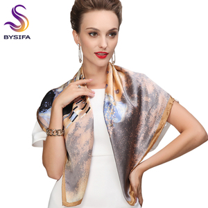 Image 2 - Winter Accessories Khaki Square Scarves Printed For Ladies Fashion Lovers 100% Natural Silk Scarf Printed 90*90cm Autumn Scarves