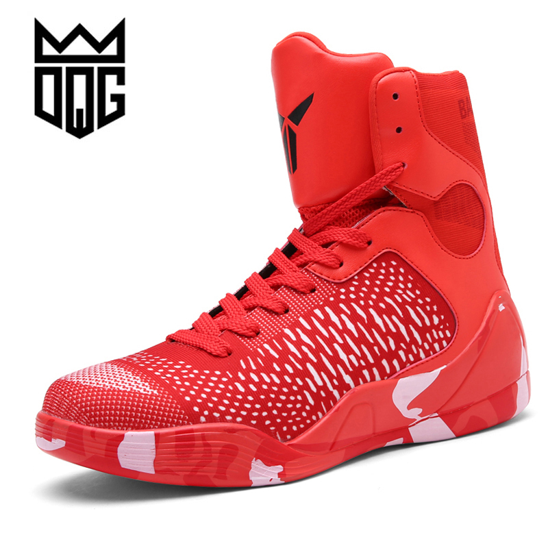 DQG Men's Basketball Shoes Air Damping Men Sports Sneakers High Top Breathable Training Leather Shoes Men Outdoor Jordan Shoes