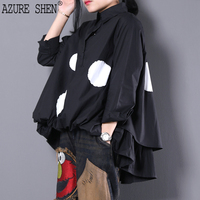AZURE SHEN New Spring 2018 Fashion Black Lapel Long Sleeve Single Breasted Printed Loose Big