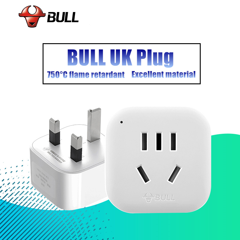 BULL Universal EU US AU to UK Plug Adaptor Electrical Plug with Socket Travel Charger Wall AC Power Adapter Converter GN-901E