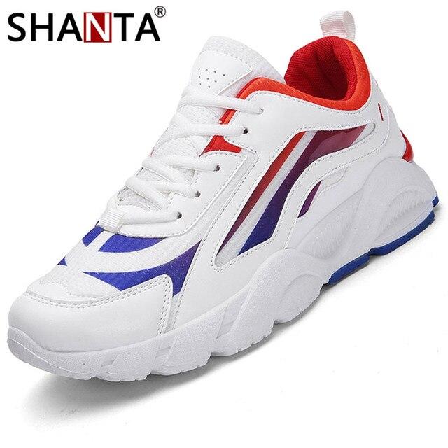 SHANTA 2019 Sapatas Dos Homens Novos Lace-Up Sapatos De Couro Homens Sapatos Casuais Sapatos de Homem Moda de Microfibra Preto Branco Dos Homens Ao Ar Livre das Sapatilhas