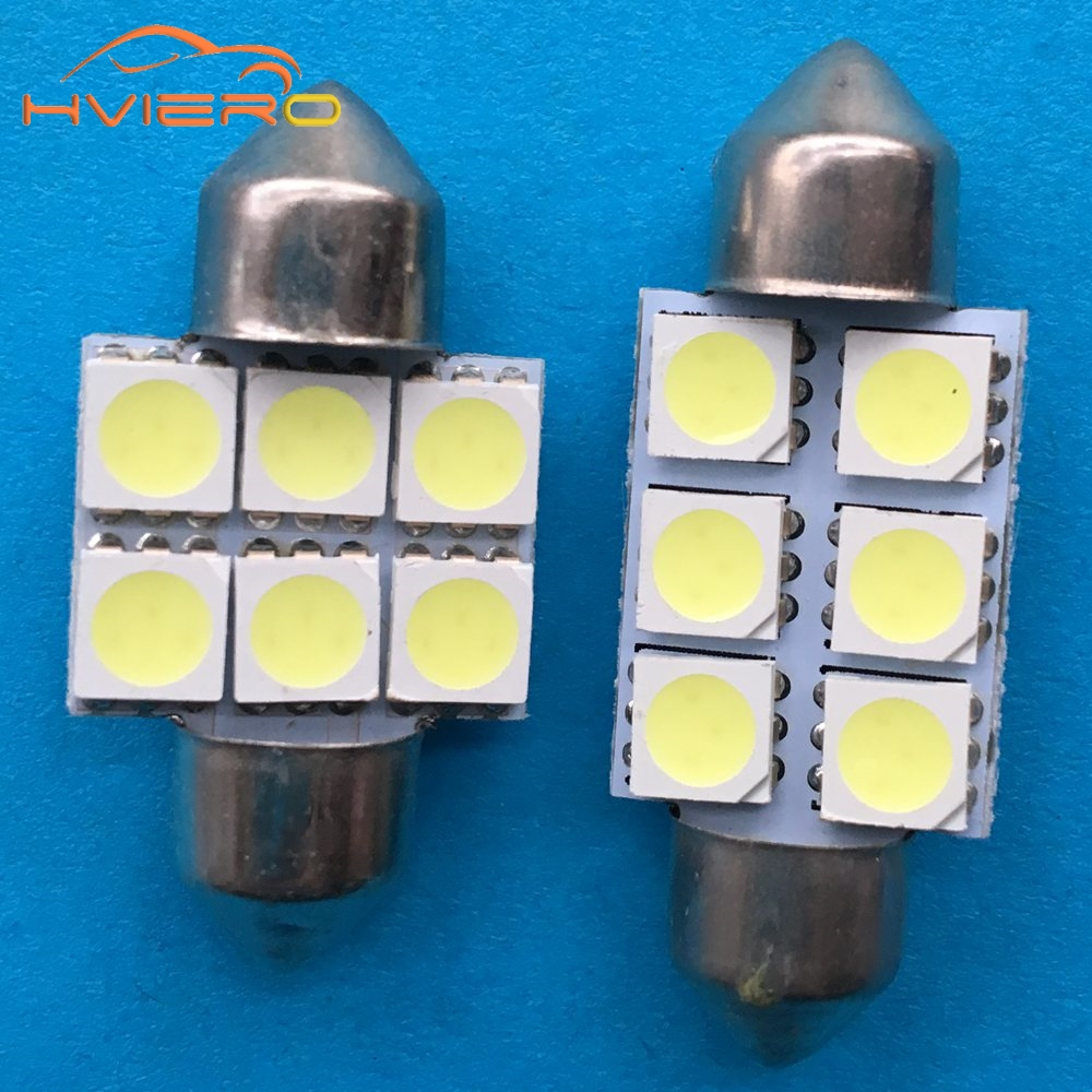 10pcs 5050 6smd 6 SMD C5w 31mm 36mm 39mm White C5w License plate Interior Festoon Dome Car Light Lamp License plate Bulb Car Led купить дешево онлайн