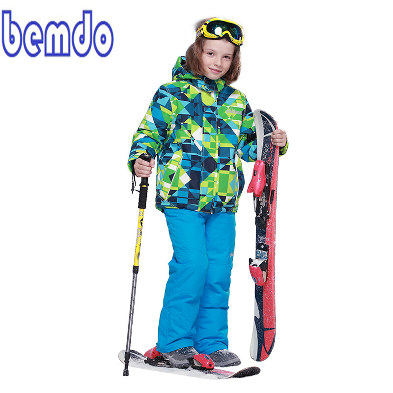 NEW 2017 BOYS Winter Waterproof Windproof Ski Sets Kids Warm Ski Jacket Children Outdoor Hooded Snowboard Sports Suits T8010 children kids boys winter windproof padded jacket hooded jacket ski jacket high quality size 116 140