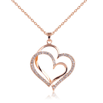 Crystal Double Heart Pendant Necklaces 2