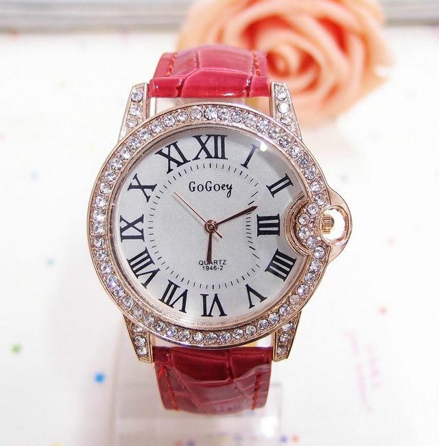 Luxury Gogoey Brand Fashion Leather Watch Women Ladies Crystal Dress Quartz Wrist Watches Female Clock GO071