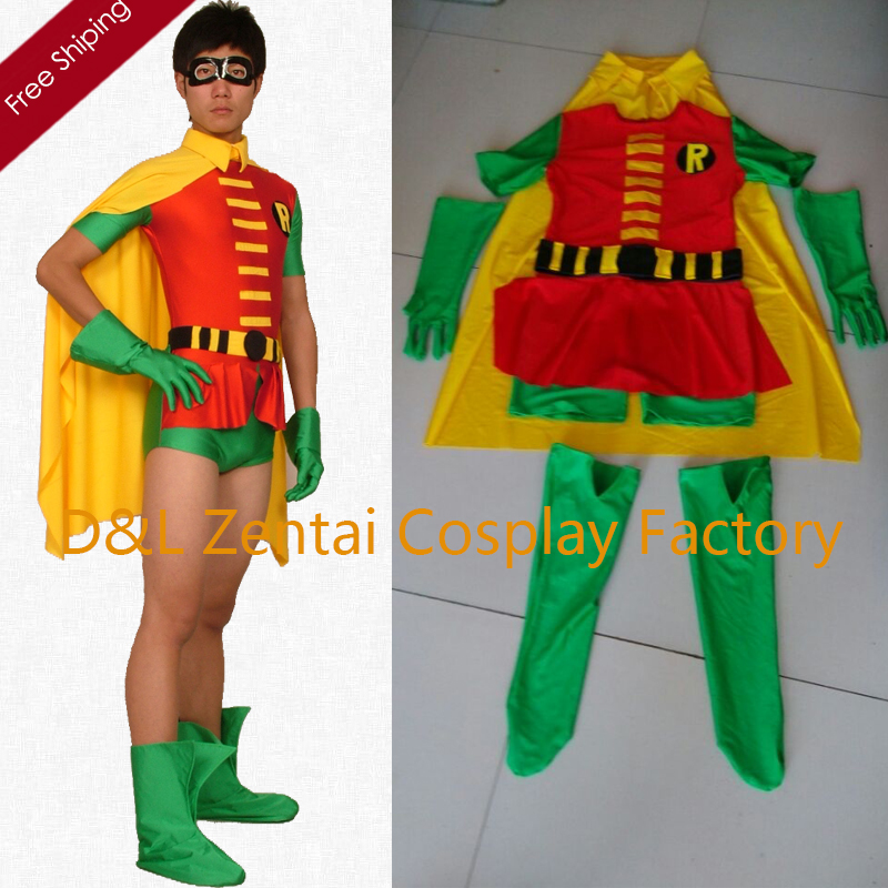 Free Shipping DHL Hot Robin Costume Yellow And Green Lycra Spandex Superhero Zentai Catsuit 2015 Halloween Costume C180