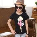 Crianças roupas meninas da juventude Camisetas traseira e dianteira ambos têm meninas impressão de manga curta em torno do pescoço-casual Teeskinder kleidung