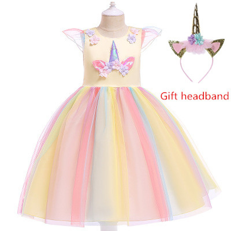 71d0127abc935 2019 New Flower Girls Unicorn Tutu Dress Pastel Rainbow Princess Girls  Birthday Party Dress Children Kids Halloween Costume 3-9Y