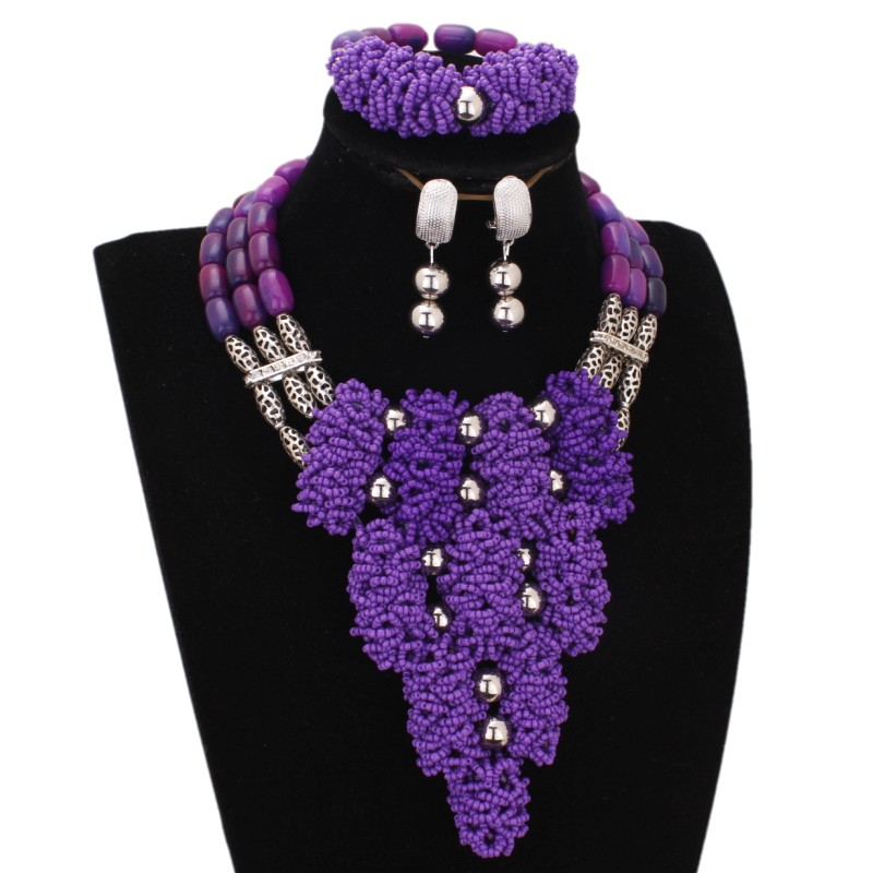 Dudo Store African Tribal Jewelry Purple Green and Red Chunky Choker Necklace Set 3 Layers Bridal