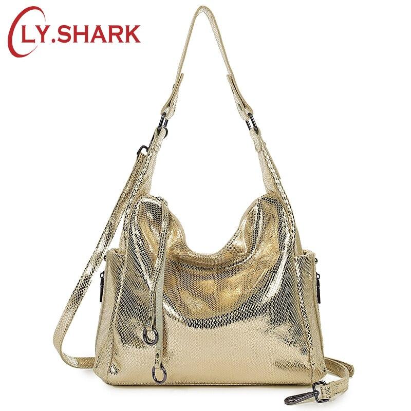 ¡LY! bolsas de mujer de tiburón bolso de mensajero de cuero genuino bolso de mujer bandolera para mujer hombro señoras bolso de mano dorado 2019-in Bolsos de hombro from Maletas y bolsas    1