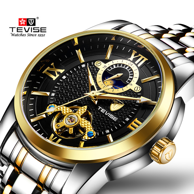 2017 TEVISE tourbillon Automatic Mechanical Watches Men Self Wind Luxury Moon Phase Full Steel Luminous Wristwatches Relogio Men tevise men automatic self wind gola stainless steel watches luxury 12 symbolic animals dial mechanical date wristwatches9055g