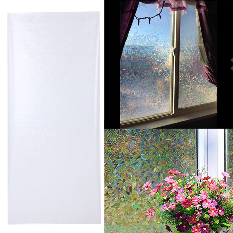 3D Static Cling Removable Decorative Films Window Film Frosted Privacy Glass Sticker Bathroom Slide Door Film 45x100cm ...