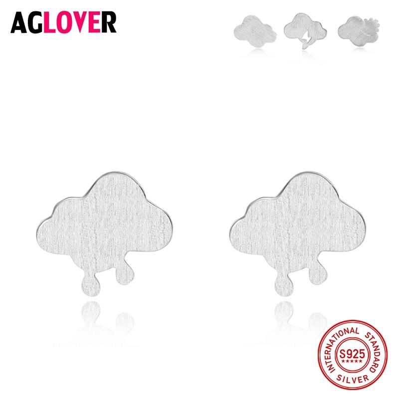 Newest Real 925 Sterling Silver Earrings Cute Clouds Stud Women Jewelry