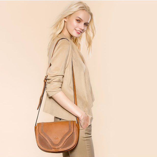 AMELIE GALANTI Crossbody Shoulder Bags for Women Causal Hollow Weaving Saddle Handbags Flap Solid Soft High Quality PU Leather Shoulder Bags