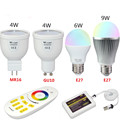 Milight LED Lamp Bulb E27 GU10 RGBW RGBWW LED Light 85-265V 4W 6W 9W / Four Zone Remote / Wifi Controller Wifi APP Control