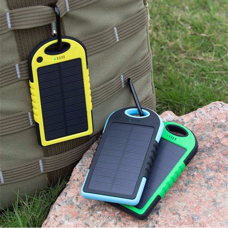 2018 New Portable Waterproof Solar Power Bank 5000mah Dual-USB Solar <font><b>Battery</b></font> powerbank for all Phone Universal <font><b>Batteries</b></font> image