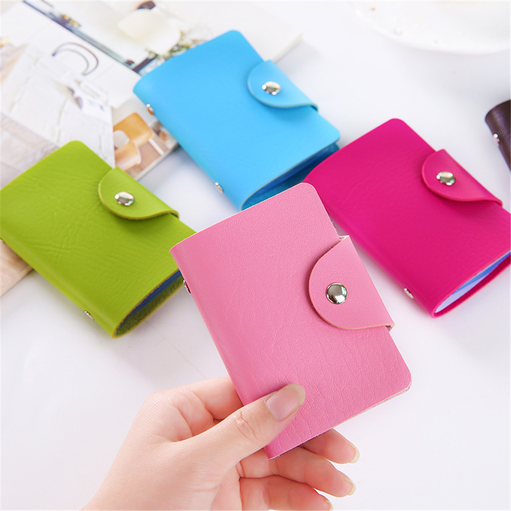 1pc Fashion Pu Function 24 Bits Credit Card Holder Kawaii Card Case Business Id Card Organizer Portable Wallets Photocard Holder To Be Renowned Both At Home And Abroad For Exquisite Workmanship, Skillful Knitting And Elegant Design