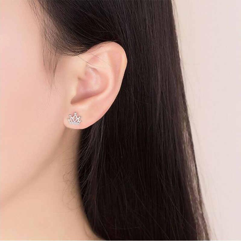 Anenjery חמוד אופנה 925 סטרלינג כסף כתר זירקון Stud עגילים לנשים תכשיטי oorbellen pendientes S-E515