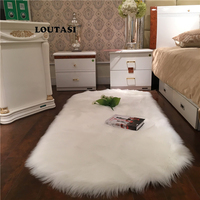 LOUTASI Hairy Carpets Soft Artificial Sheepskin Plain Fur Skin Fluffy Bedroom Faux Mats Washable Artificial Textile Area Rugs