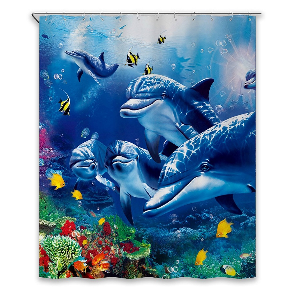 Shower Curtains Art Fantastic Sea Animal Fish Dolphin Coral Blue Printing Decorative Polyester Fabric Bathroom Curtains