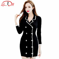 2017 Autumn Women Knitted Cardigan Cloth Full Sleeve Black Double Breasted Bodycon Mini Sexy Vestidos Sweater Dresses