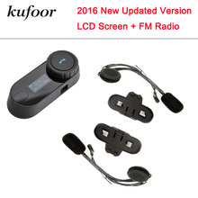 Free Shipping!! KUFOOR LCD screen!!BT Bluetooth Motorcycle Helmet Intercom Headset with FM Radio+Extra Earpiece+Bracket