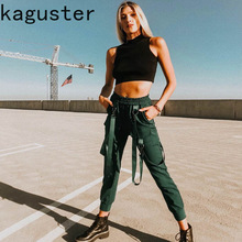 2019 Women Pants High Waist Elastic Strap Bondage Jogger Solid Color Overalls Trousers with Pockets Streetwear