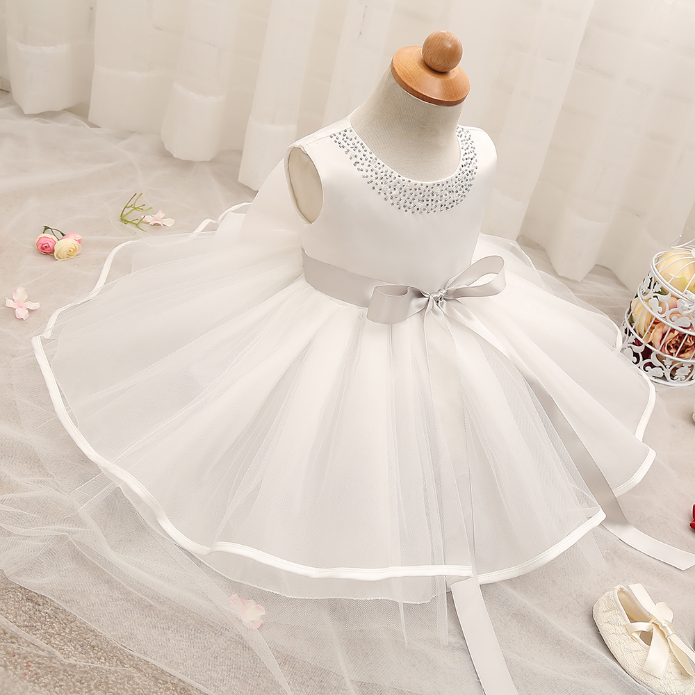 Trendy baby girl christening gowns tulle baptism dress for Making baptism dress from wedding gown