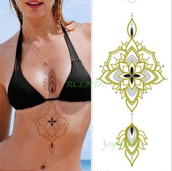 Etanche Autocollant De Tatouage Temporaire Mandala De Lotus Sur