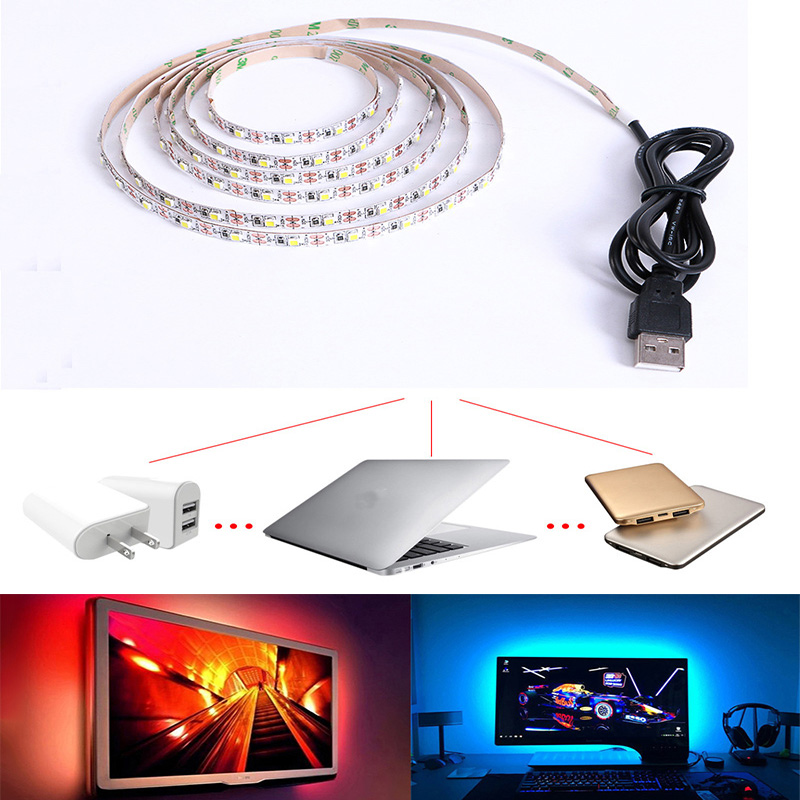 Usb Led Strip 5v No Waterproof Warm White/White/RGB 3528SMD Applicable For Automobile And Bicycle Decoration OR Contour Lighting