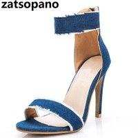 Zatsopano Brand Free Ship Pumps Fashion Women High Heels Shoes Wedding Chaussure Femme Denim High Heeled Sandals Zapatos Mujer