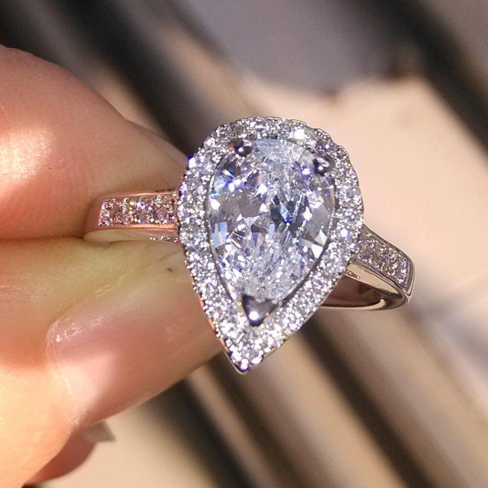 Maat 5/6/7/8/9/10 Sieraden Romantische 925 Sterling zilver gevuld WIT Clear AAA CZ Gem Gesimuleerde stenen Bruiloft Vrouwen Ring gift