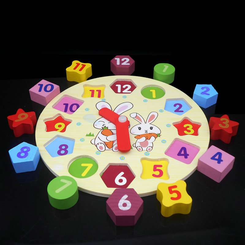 Free shipping cartoon rabbit clock geometric shape matching children s wooden educational font b toys b