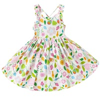 Retail New Style Summer Baby Girl Print Flower Dress Girls Party Backless Dress Teenager Big School