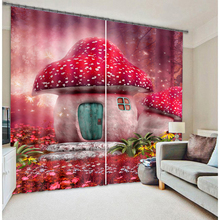 Senisaihon Korean 3D Blackout Curtains Mushroom Cartoon Castle Pattern Fabric Children Bedroom Window for Living Room
