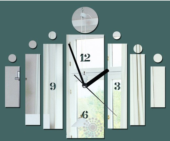 Home Decoration Mirror Rectangle Wall Clock Modern Design Interior Living Room Watches