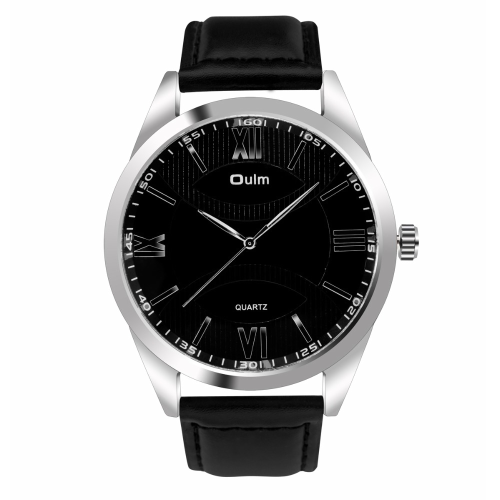 Brand Oulm HP3697 Quartz Sports Men Leather Strap Watch Male Military Wristwatch Running Cool Clock