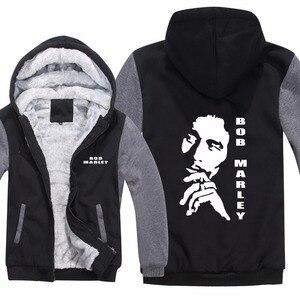 Image 2 - Sweat à capuche pour hommes, Reggae Bob Marley, sweat shirt molletonné, fermeture éclair, décontracté, veste et manteau de sport, nouvelle collection