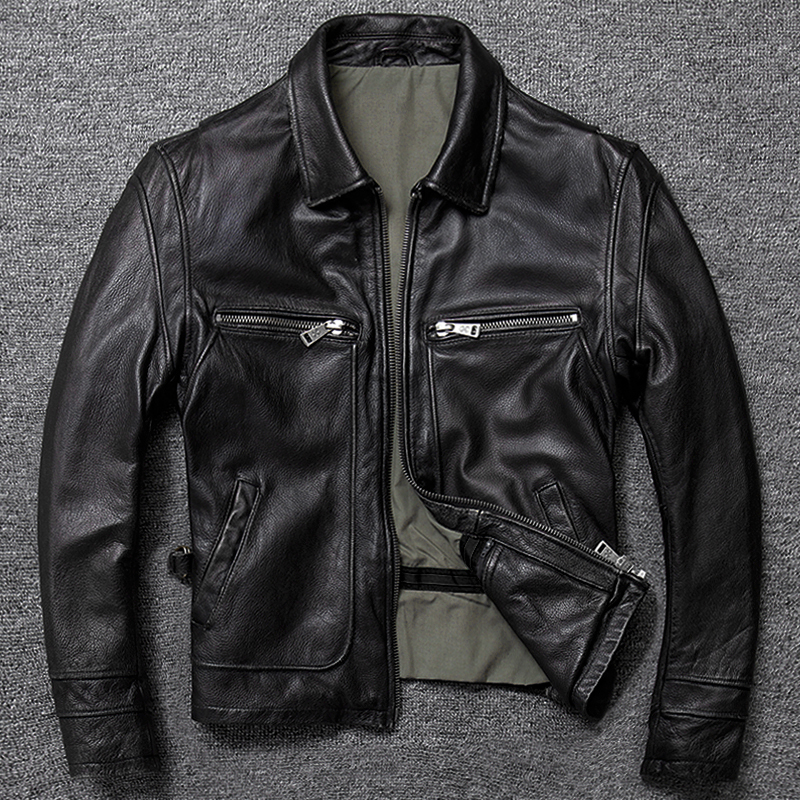 YR!Free Shipping.Brand New Men Genuine Leather Jacket.winter Warm Brown Vintage Cowhide Coat.US Classic Casual Jacket Sales