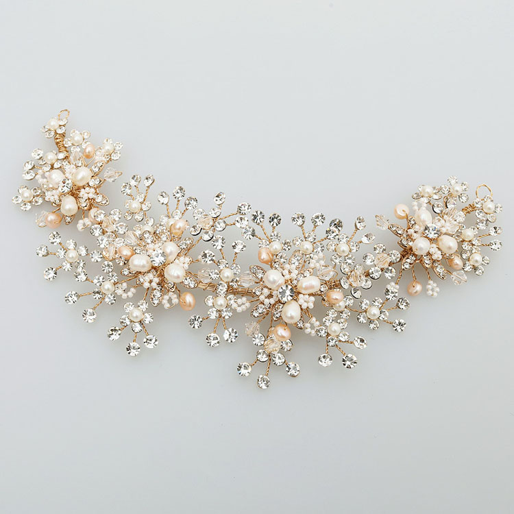 SLBRIDAL Crystals Rhinestones Freshwater Pearls Flower Wedding Hairbands Bridal Headband Hair accessories Bridesmaids Hair Vine denso 23250 28070