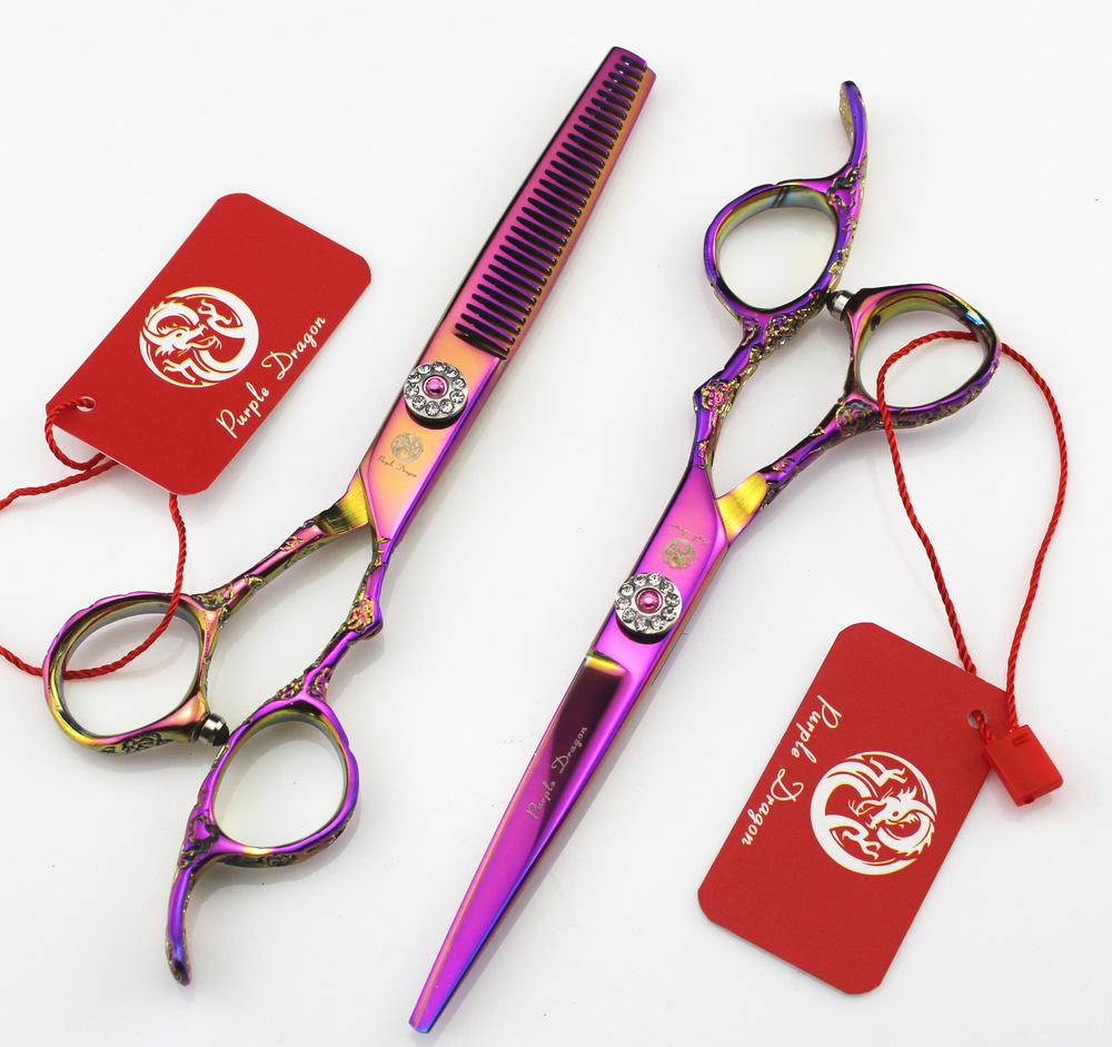 все цены на 6.0 inch purple plum purple dragon handle imports barber scissors hairdressing scissors flat cut teeth cut онлайн