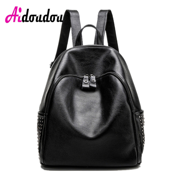 6802a97ab043 AIDOUDOU BRAND Girls School Backpack Side Rivet Fashion Girl Schoolbag  Laptop Bagpack Luxury Bag Women Bags Designer