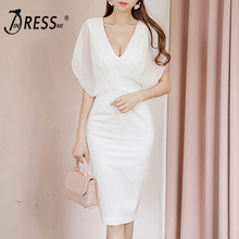 INDRESSME 2018 New  Sexy  V-Neck  Lady  Bodycon Party Dress Clearance
